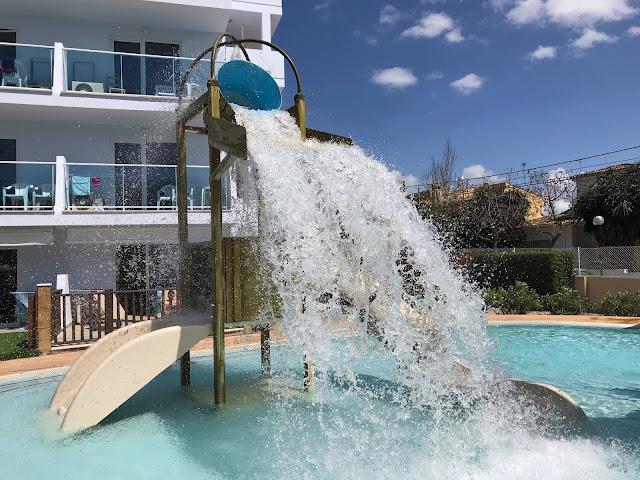 Splash bucket in pool at Pirates Village Majorca