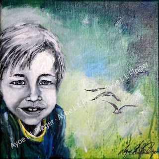 maleri,kunst,art,glad kunst,farver,barn,forurening,red jorden,portræt,måge,seegull,landskab,natur