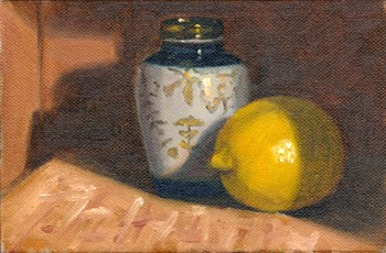 Oil painting of a lemon and a small Chinese-style vase.