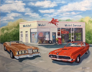 Mobil gas station, classic car painting