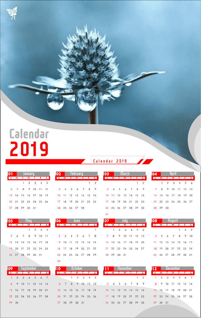 001 Calendar 2019 Printable design  |  template vector cdr
