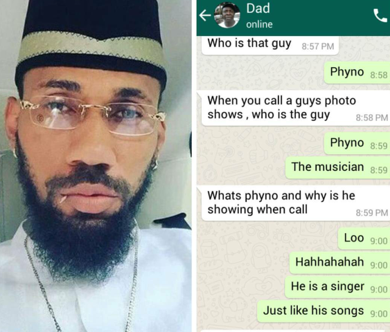 Girl's Dad Questions Her After Seeing Phyno's Pic As Her Whatsapp Dp