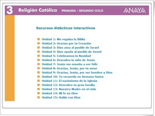 """""""Recursos Didácticos Interactivos Anaya. Religión Católica de 3º de Primaria"""" (Abre la puerta)"""
