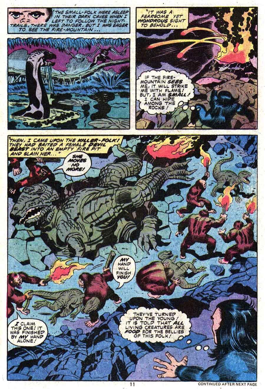 Devil Dinosaur #1 marvel 1970s bronze age comic book page art by Jack Kirby