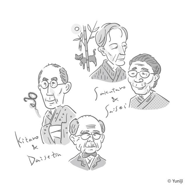 日本の哲学者や作家の肖像イラスト