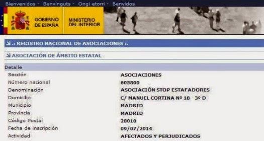 Asociaci n stop estafadores julio 2014 for Registro ministerio del interior