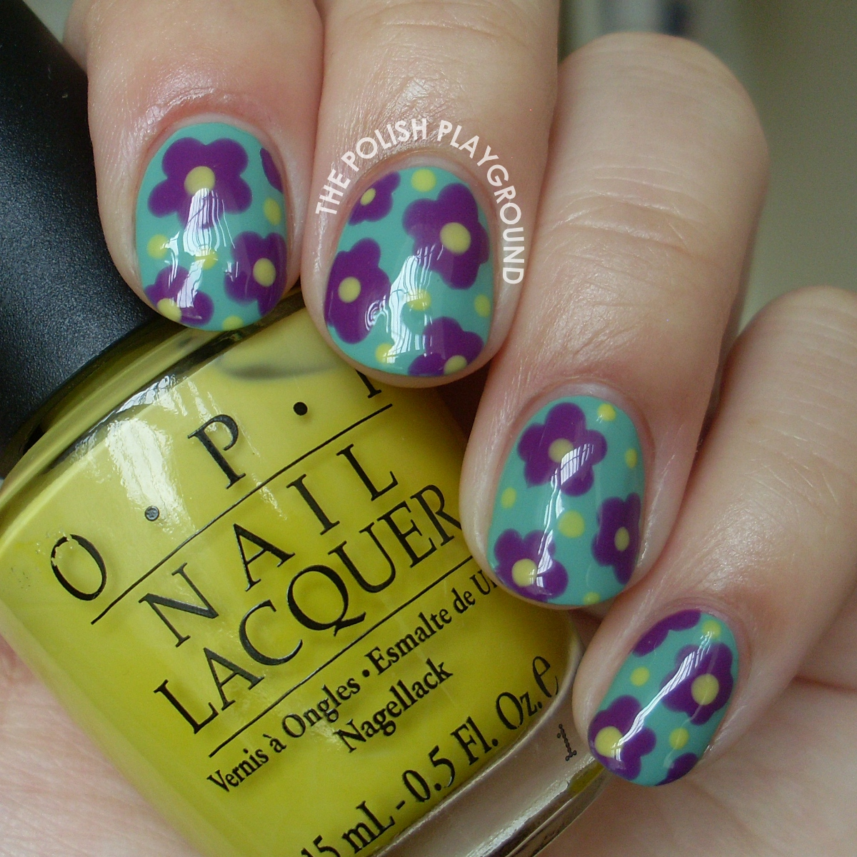 Purple Flowers with Yellow Dots Nail Art