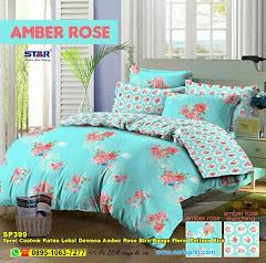 Sprei Custom Katun Lokal Dewasa Amber Rose Biru Bunga Floral Pattern Biru