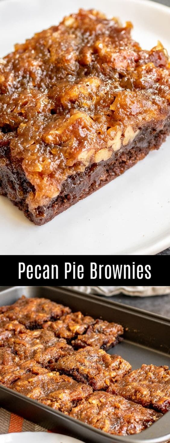 Pecan Pie Brownies are a rich, chocolate and pecan pie Thanksgiving dessert recipe that you're going to want all year long!