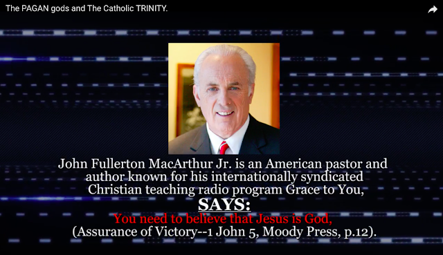 John Fullerton MacArthur Jr. is an American pastor and author known for his internationally syndicated Christian teaching radio program Grace to You, SAYS: You need to believe that Jesus is God. (Assurance of Victory--1 John 5, Moody Press, p.12).