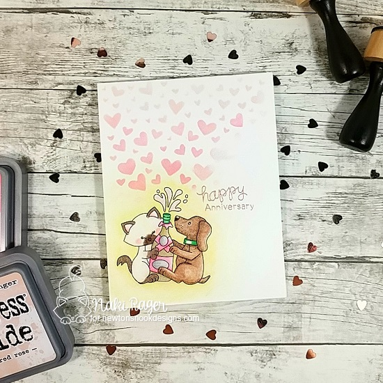 Anniversary card by Naki Rager | Newton Celebrates Stamp Set and Tumbling Hearts Stencil by Newton's Nook Designs #newtonsnook #handmade