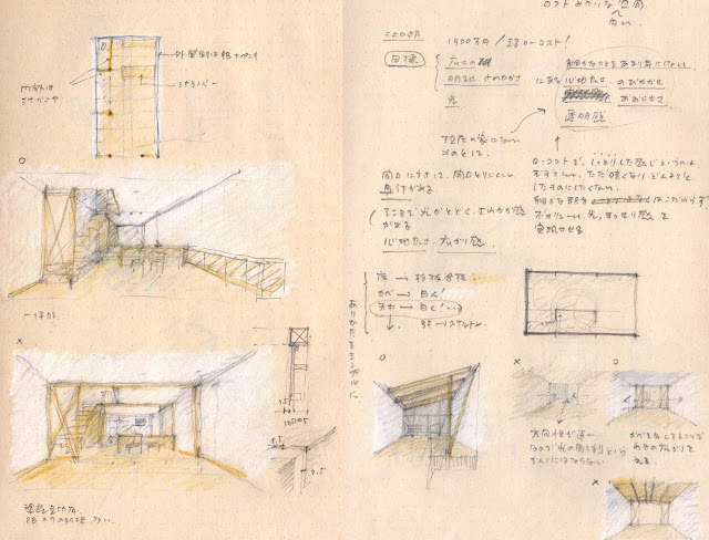 木製スクリーンとバルコニーのある三階建て狭小都市型住宅 室内の計画