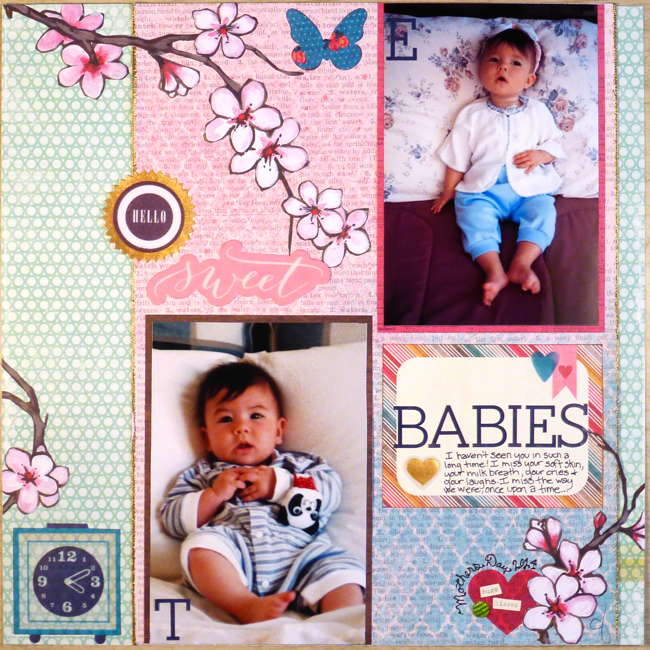 Hello Sweet Babies, 12x12 scrapbook page