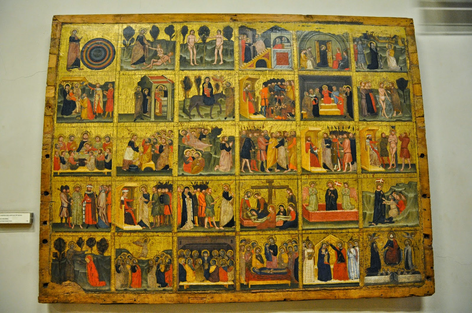 A gold leaf religious painting representing 30 biblical stories. Middle of 14th century. From the Convent of Santa Caterina in Verona. Museum of Castelvecchio, Verona.