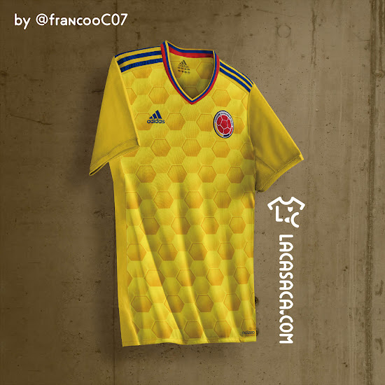 33b608d52 The 3 Stripes sit on the shoulders of the Colombia 2017 kit, next to the  v-collar, which features the colors of the Colombian flag.