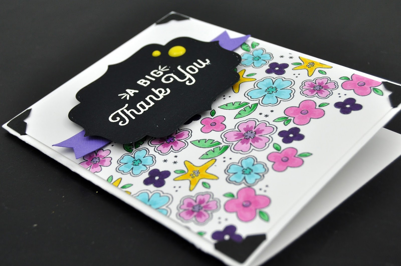 CTMH Copic Colored Tropical Flower Card by www.jengallacher.com #stamping #CTMH #jengallacher #copicmarkers