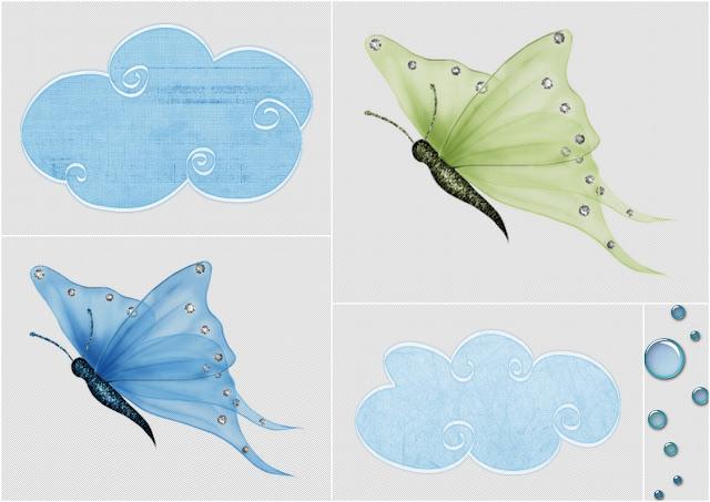 Butterflies and Clouds Clip Art.