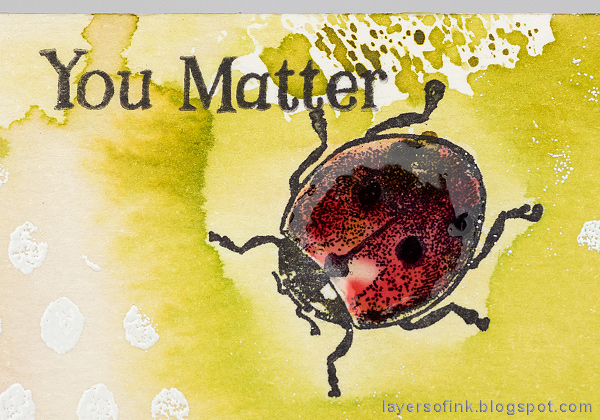 Layers of ink - DIY Ladybug Notebook Tutorial by Anna-Karin Evaldsson with Ranger Glossy Accents.