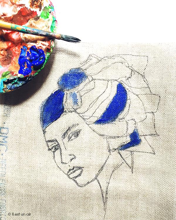 peinture sur toile de lin