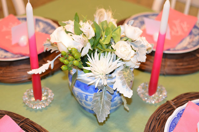 pink ombre candles; Easter table; easter tablescape; easter dinner