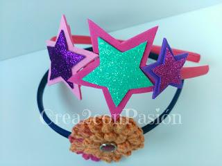 Diademas-corona-y-complementos-para-el-pelo-Crea2-con-Pasión-en-goma-eva-diamantada-con-estrellas