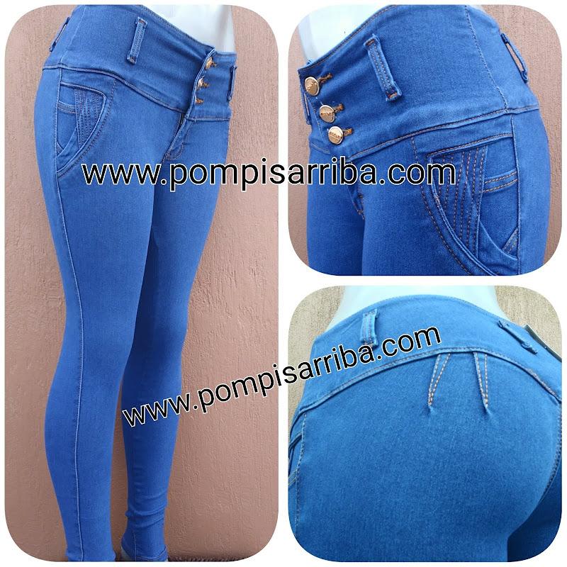 Azul Pitufo, pretina ancha con doble pinza, liso www.pompisarriba.com