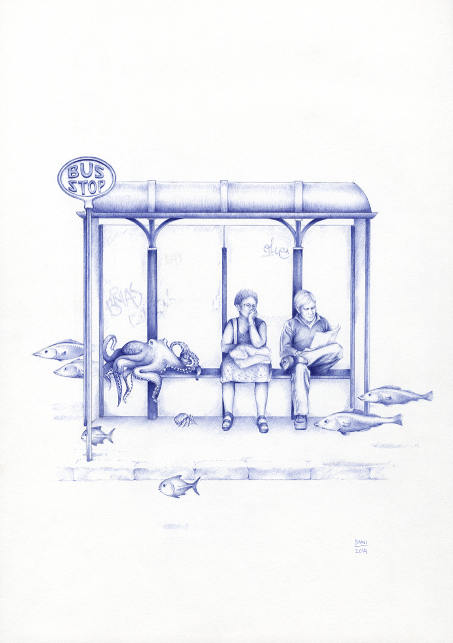 08-Waiting-for-Santa-Maria-Dani-Loureiro-Zero-Gravity-Ballpoint-Pen-Drawings-www-designstack-co