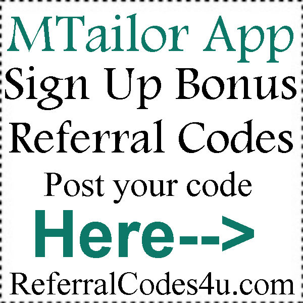 MTailor App Referral Codes 2020, MTailor Coupons August,September, October