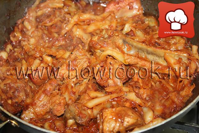 рецепт Тушеные свиные ребрышки с капустой пошаговые фото