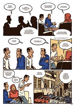 """Page de Oualou en Algérie"""" de Gyps et Lounis Dahmani chez la boite à bulles"""