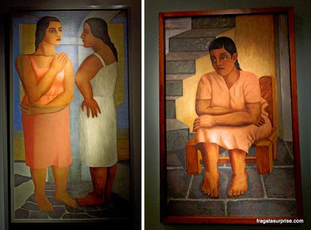 """""""Duas Mulheres"""" e """"Menina"""", obras de Manuel Rodriguez Lozano no Museu de Arte Moderna da Cidade do México"""
