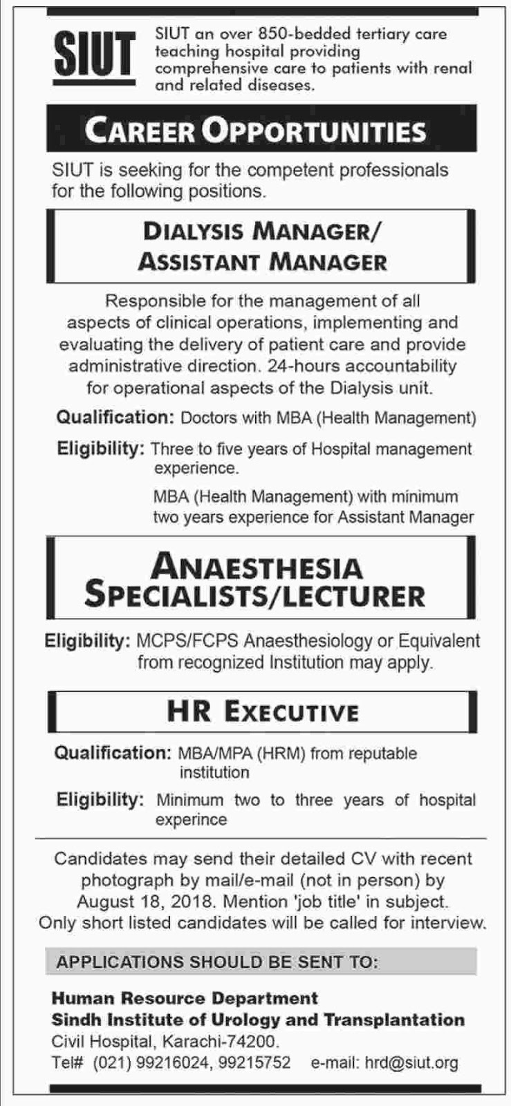 SUIT Sindh Institute of Urology and Transplantation Jobs
