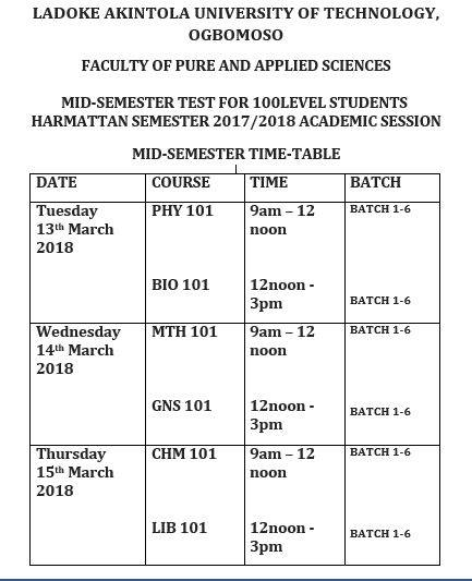 LAUTECH Timetable for 100L Students Mid-Semester Test