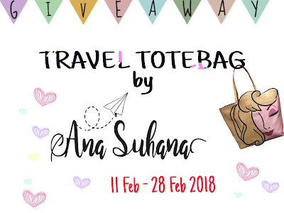 Giveaway : Travel Totebag by Ana Suhana, Blogger, Blog, Hadiah, Peserta, Pemenang, Random,