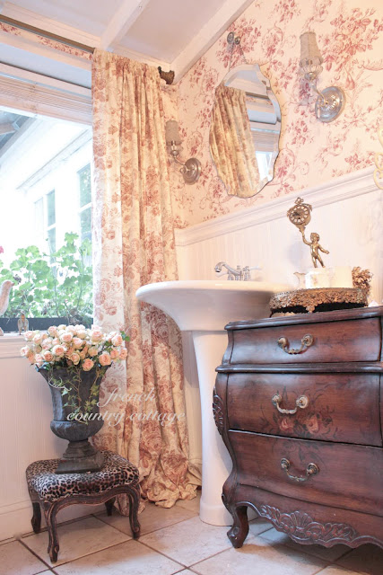 French Cottage Bathroom - FRENCH COUNTRY COTTAGE on romantic lodge, romantic shabby chic, romantic chic new year, romantic firelight, romantic office, romantic chic decor,