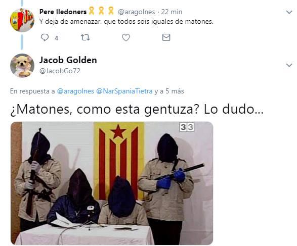Pere Lledoners VS Jacob Golden, y deja de amenazar, que todos sois igual de matones. Matones, como esta gentuza? Lo dudo ...