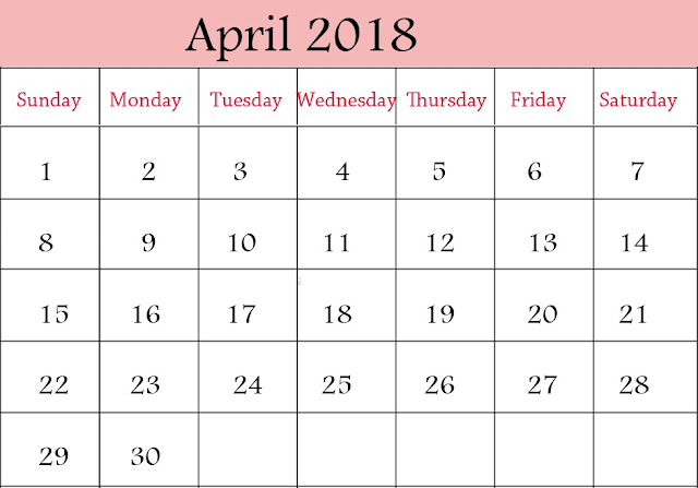 April 2018 Calendar, April 2018 Calendar Printable, April 2018 Calendar Template, Calendar April 2018, April 2018 Calendar Notes, 2018 April Calendar