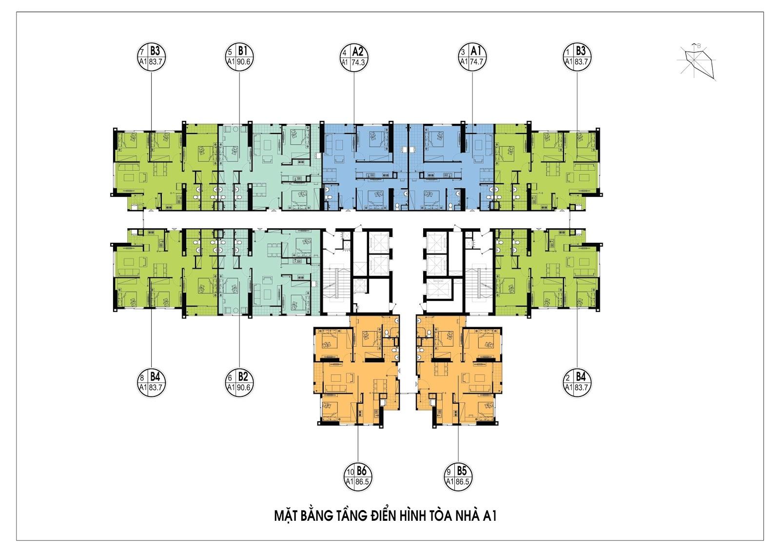 Mặt bằng điển hình tòa A1 - Chung cư An Bình City