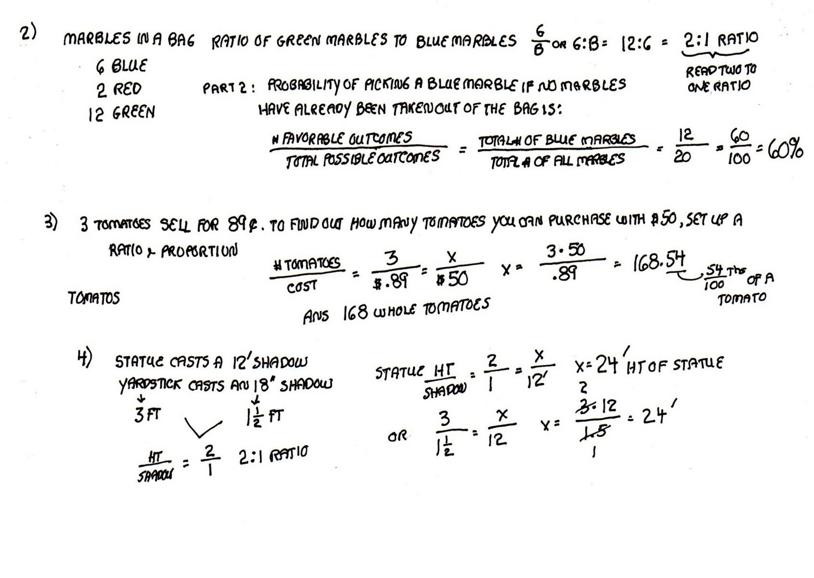 Solve Ratio Problems Proportions Simple Exercises