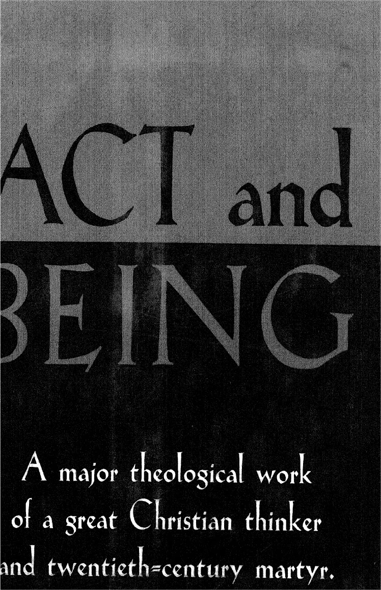 Dietrich Bonhoeffer-Act And Being-