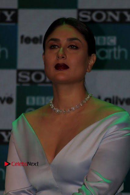 Bollywood Actress Kareena Kapoor Stills in Beautiful Silk Long Dress at Sony BBC Earth New Channel Launch  0001.jpg