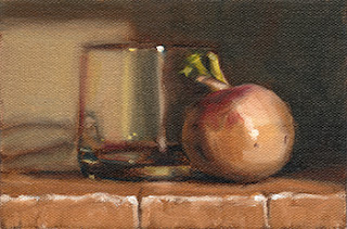 Oil painting of a turnip beside an Old Fashioned glass.