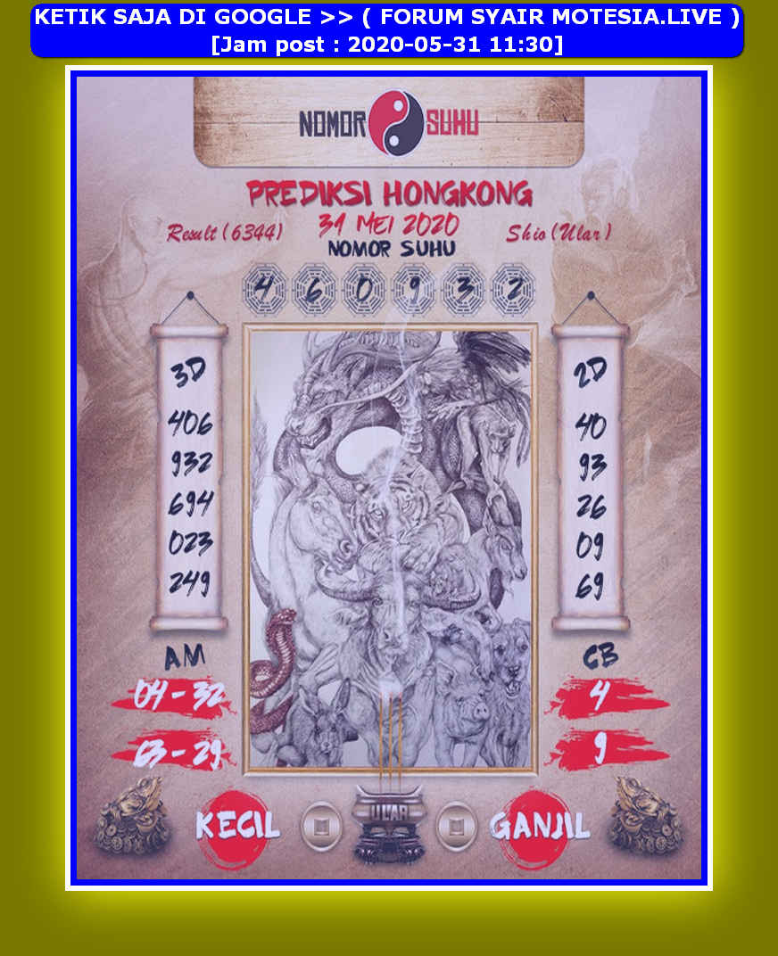 Kode syair Hongkong Minggu 31 Mei 2020 277