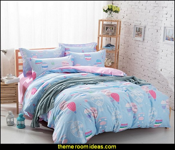 Hot Air Balloon Blue Background Duvet Cover Sets