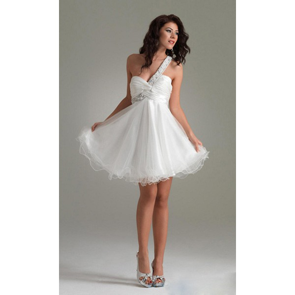 557a75b9a7b White Jeweled Beading Short One Shoulder Dress For Homecoming