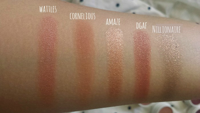 colourpop super shock eyeshadows wattles, cornelious, amaze, dgaf, nillionaire swatches