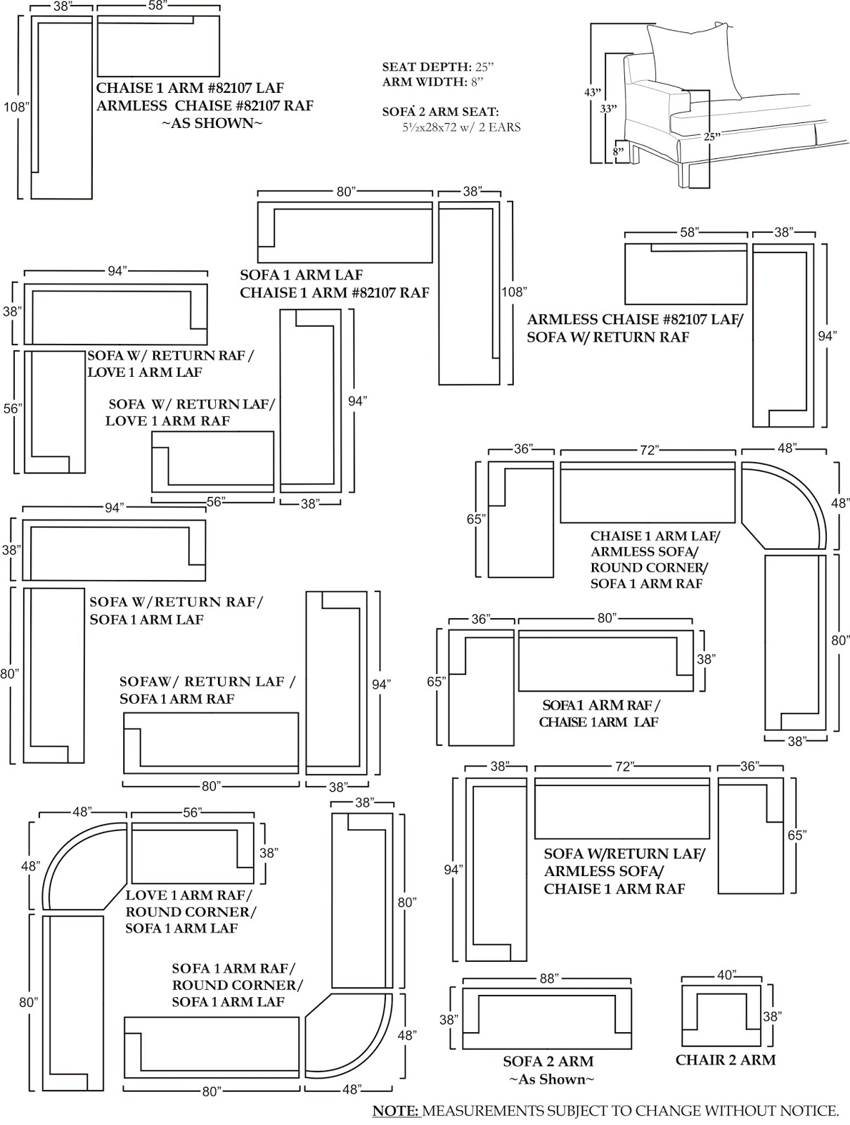 Sectional Sofa Measurements