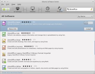 Klik install untuk menginstall paket libre office di xubuntu