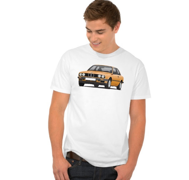 BMW E30 (3 Series) illustration t-shirt @Zazzle Store orange
