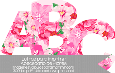 Letras para imprimir a color con flores